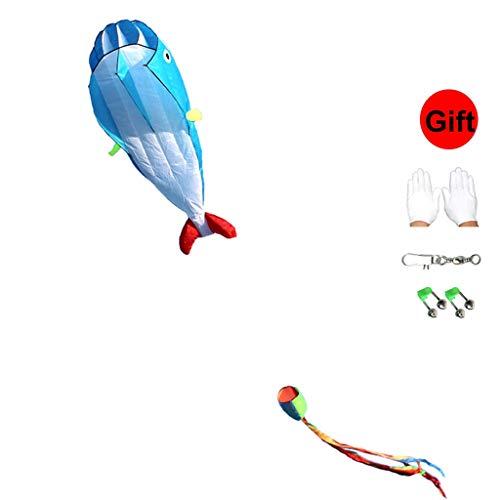 Cometas Kits for niños - Ballena - Soft Grande for Adultos - fácil de Volar - Guantes y Campanas Regalo (Color : Blue, Size : No Line)