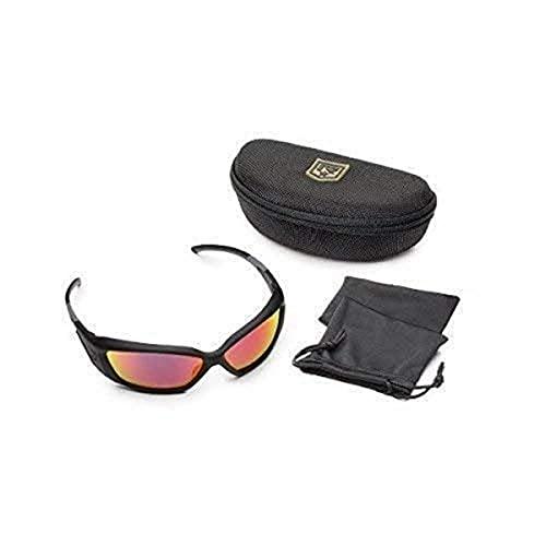 Revision Military Hellfly Ballistic Sunglasses 4-0491-0022 Hellfly Ballistic Sunglasses Black Frame with Flame Mirror Lenses, Flame Mirror