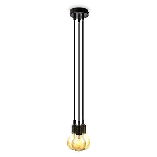 B.K.Licht Lampadario nero con cavi rivestiti in tessuto, adatto per 3 lampadine E27 non incluse, altezza totale 2.04m, Lampada a sospensione per salotto o sala da pranzo, Lampada da soffitto vintage