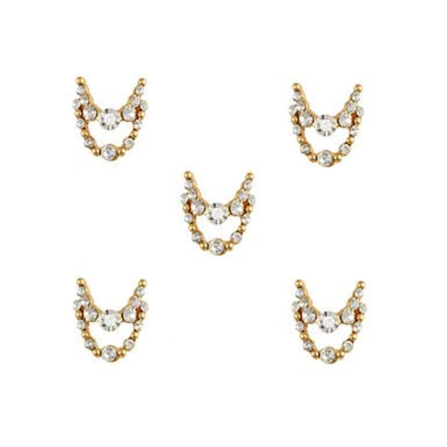 センチメンタル大陸アミューズ明確なラインストーン3dチャーム合金ネイルアートの装飾が付いている10個入りゴールドネックレスブラブラ