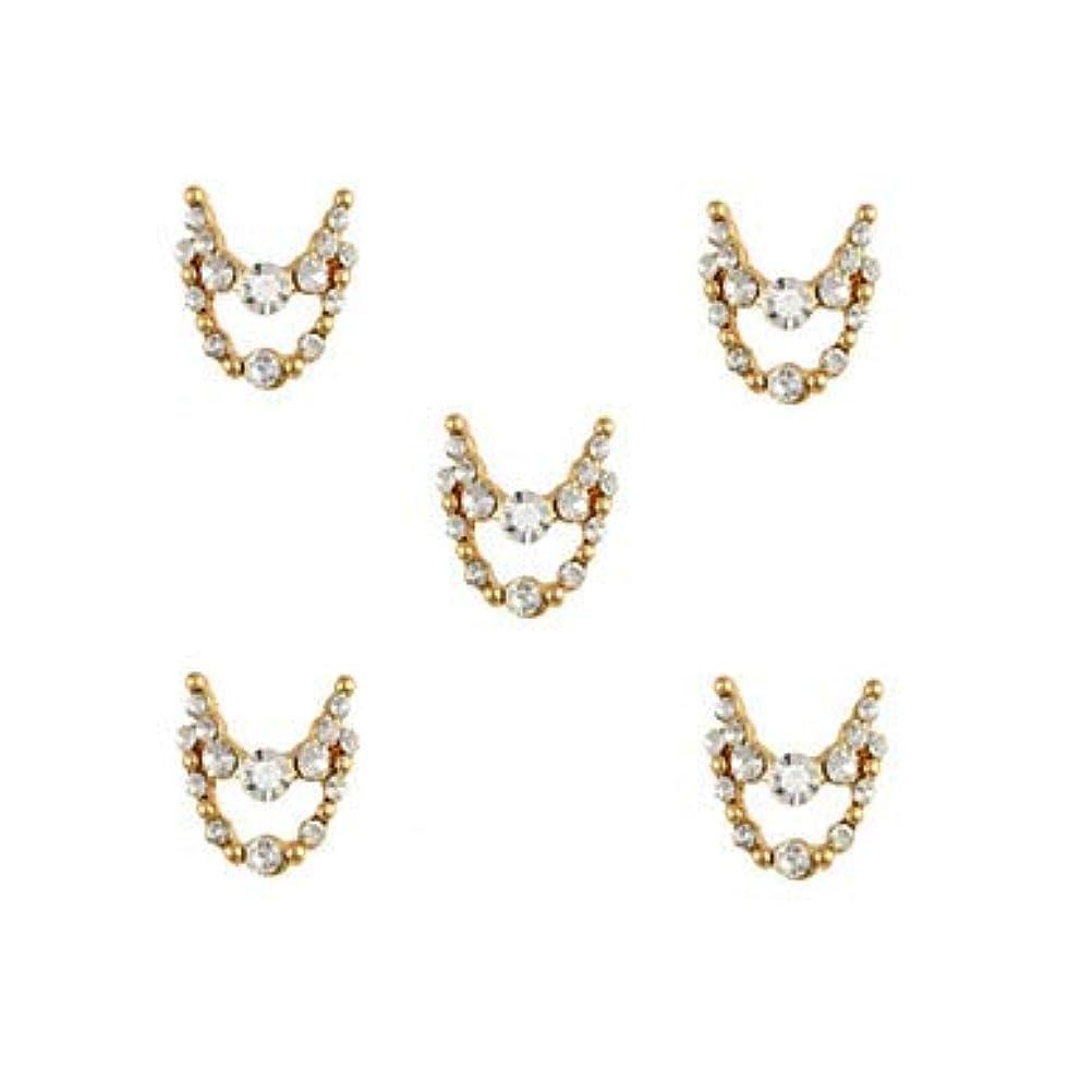 振る舞うウィンクペースト明確なラインストーン3dチャーム合金ネイルアートの装飾が付いている10個入りゴールドネックレスブラブラ