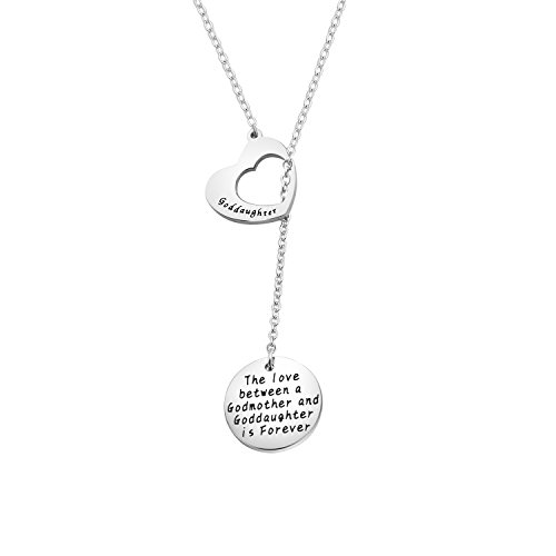 CHOROY Goddaughter Gift The Love Between a Godmother and Goddaughter is Forever Necklace First Communion Gift (Goddaughter Y-Necklace)