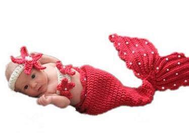 3 Stks Pasgeboren Baby Fotografie Photo Prop Kostuum Outfit Gehaakte Zeemeermin, Roze, roosrood, 玫çº