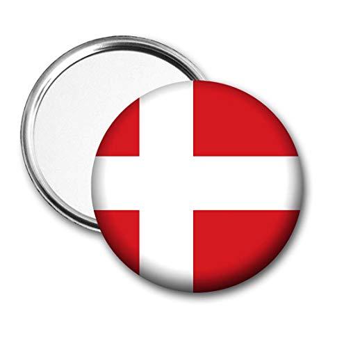 Denemarken Vlag Pocket Spiegel voor Handtas - Handtas - Gift - Verjaardag - Kerstmis - Stocking Filler - Secret Santa