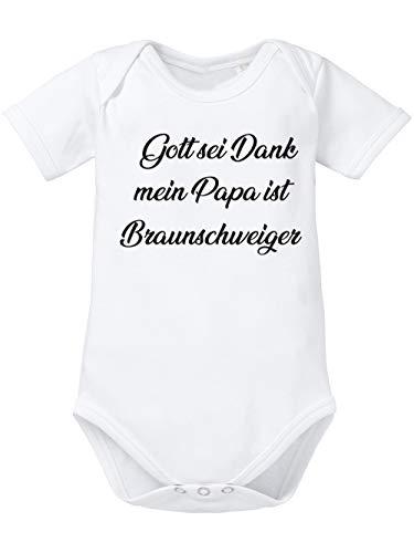 clothinx Gott Sei Dank, Mein Papa ist Braunschweiger, Lustiges Fussballmotiv Baby Body Bio Weiß Gr. 50-56
