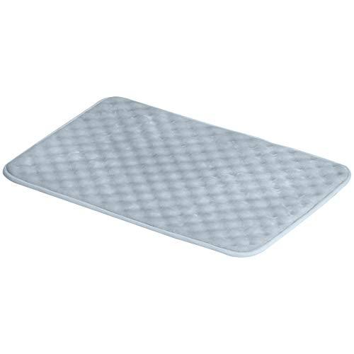 Amazon Basics Tapis de bain en mousse à mémoire de forme et texture striée, Bleu, 50 x 80 cm