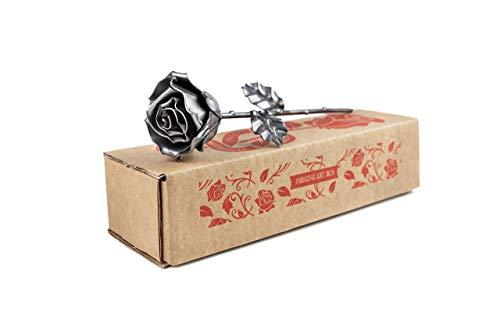 Eisen Schmiede ewige Rose Silberfarben - Handgeschmiedet