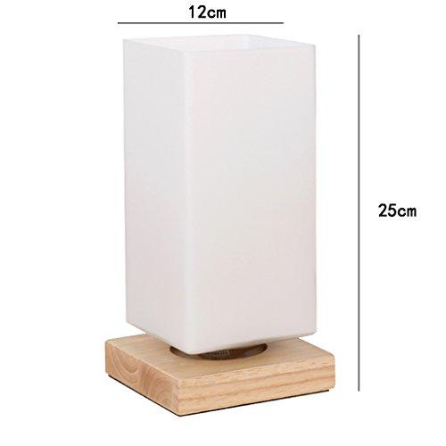 NYDZ glazen tafellamp E27, slaapkamer-bedlampje rechthoekige creatieve bureaulamp van hout, led-nachtkastje schrijftafellicht drukknopschakelaar [energieklasse A]