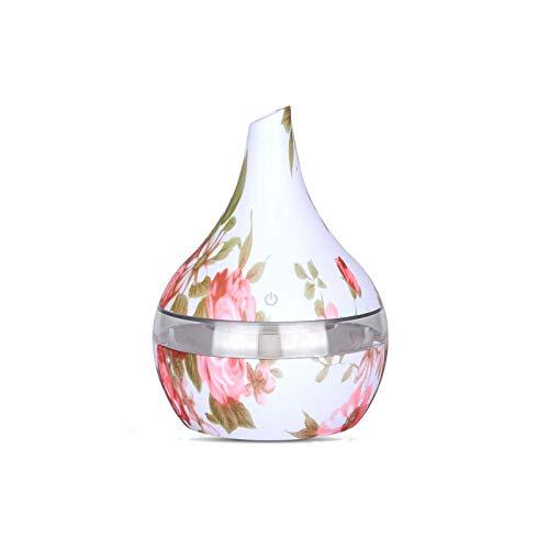 300 Patrón ML humidificador ultrasónico aceite esencial de rosa de aire fresca niebla del difusor del aroma de colores de luz LED de la noche con el cable USB for la yoga del Ministerio del Interior d