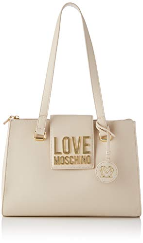 Love Moschino Precollezione Ss21 Borsa Shopper PU Da Donna, Bandolera para Mujer, blanco perla (ral 1013), Normal