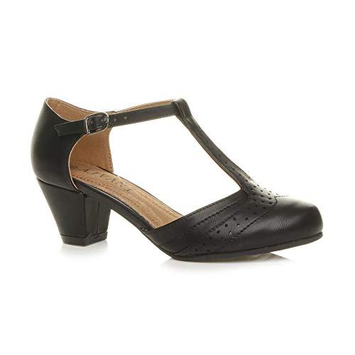 Ajvani Damen Mitte Blockabsatz T-Riemen Ausgeschnitten Brogues Pumps Sandalen Größe 8 41