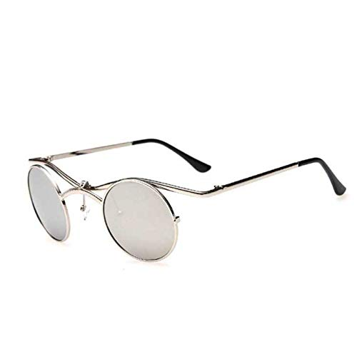 YTYASO Gafas de Sol Hombre Mujer Gafas de Sol de Espejo con Revestimiento Redondo Gafas de Sol Masculinas