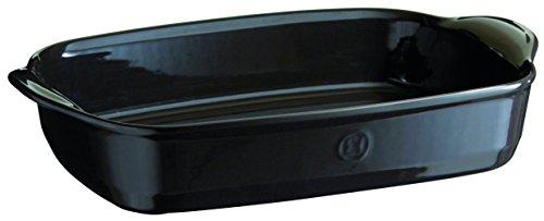 Emile Henry EH799654 Grand Plat à Four Rectangulaire, Céramique Noir Fusain 42 x 27 x 9 cm