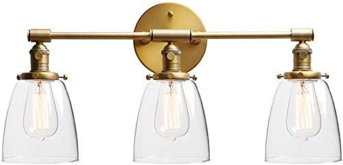 Spiegellamp badkamer retro wandlamp met schakelaar wandlamp wandlamp 3 lampen E27 industrie wandschijnwerper licht met drie glazen kapjes licht decoratie wandschijnwerper (koper)