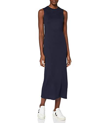 Marca Amazon - MERAKI Vestido Maxi Slim Fit de Algodón Mujer, Azul (Blue), 40, Label: M