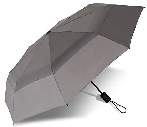 Procella Windproof Travel Umbrella - Small Collapsible and Lightweight - Large Cover when Open - Best for Kids Mens Womens (Double Canopy, Gray)
