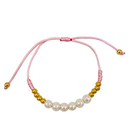 Pulsera bolas de acero inoxidable bañadas en Oro 18k y perlas sintéticas y ajustable. Hecha a mano en España. Joya cómoda para combinar con otras joyas. Perfecta para tu dia a dia.