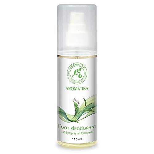 Fußspray mit 100% Natürlichem Teebaumöl und Pfefferminzduft - Fussdeo 115ml - Fußdeospray für Fußpflege und Gegen Fußgeruch - Foot Spray