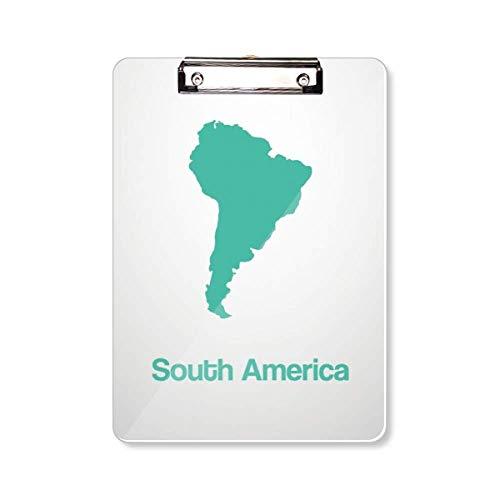 Groene Zuid-Amerika Illustratie Kaart Klembord Map Schrijven Pad Backing Plate A4
