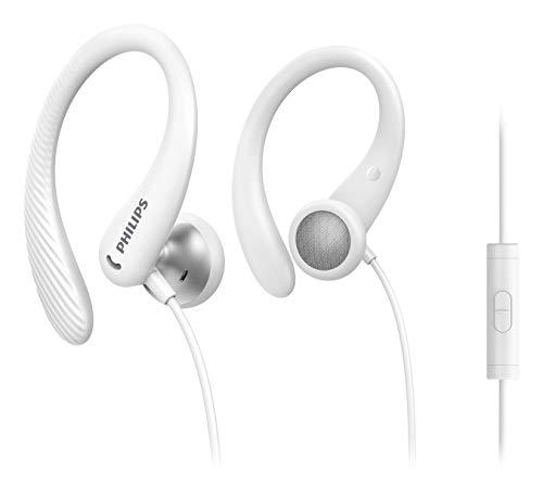 Philips Auriculares Deportivos Intrauditivos A1105WT/00 con Micrófono (Gancho de Oreja Flexible, Apertura Bass Beat, Resistentes al Sudor IPX2, Mando a Distancia Integrado) Blanco - Modelo 2020/2021