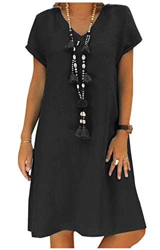 Yidarton Sommerkleid Leinen Kleider Damen V-Ausschnitt Strandkleider Einfarbig A-Linie Kleid Boho Knielang Kleid Ohne Zubehör(Schwarz,2XL)