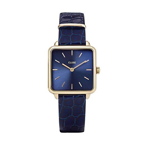 Reloj Cluse La Tétragone Cuadrado Azul y Dorado con Correa de Cuero