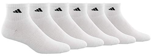 adidas Men's Athletic Cushioned Quarter Sock (6-Pair), White/Black, Large, (Shoe Size 6-12)
