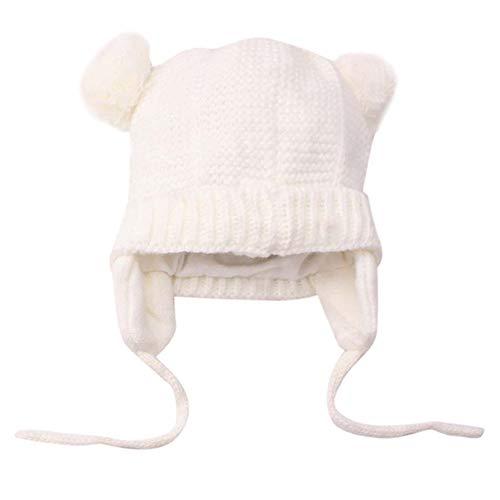 MuSheng(TM)Mignon Enfant Enfants Fille Chapeau & Garçon Bébé Chapeau Infantile D'hiver Au Crochet Tricoté Chapeau Bonnet Bonnet (Blanc)
