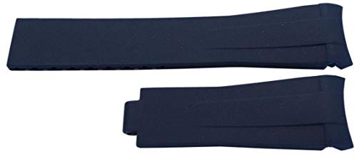 Rubber Watch Strap Made by W&CP to fit Rolex GMT Oyster & Omega SeaMaster Dark Blue 20mm