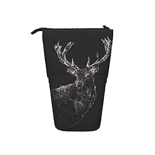 La caja de lápiz telescópica se levanta el bolso de la pluma, caja linda impresa ciervo negro del organizador...