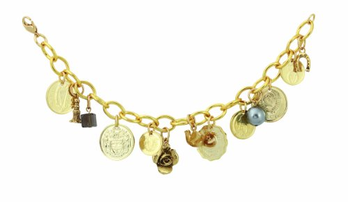 Gold-Layered Foreign Coins Charm Coin Bracelet Coin Jewelry