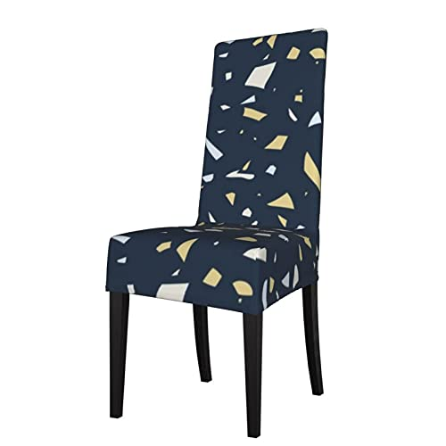 Fundas para silla de asiento elásticas Terrazzo Oro Blanco Azul Oscuro Gris Brut Elegante Slick para el hogar, comedor, hotel, ceremonia, banquete de boda