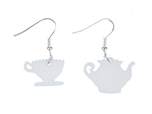 Miniblings Kaffeekanne Tasse Ohrringe Kaffeeservice Teekanne Teetasse weiß - Handmade Modeschmuck I Ohrhänger Ohrschmuck versilbert