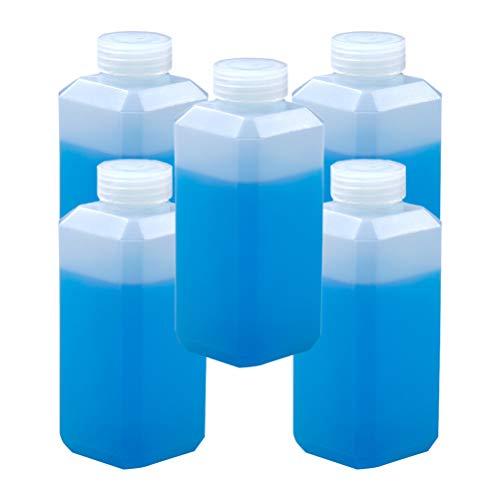 EXCEART 5 Piezas Botellas Cuadradas de Plástico Vacías Botellas de Boca Estrecha Botellas de Bebidas de Jugo Contenedor Recargable Botellas de Subenvasado para Reactivo Líquido 500 Ml