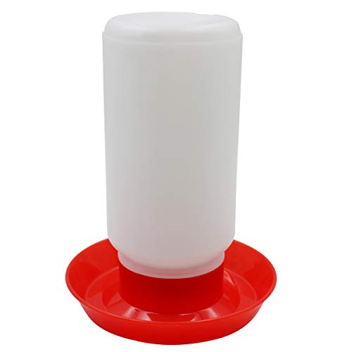 Poultry Water Jug Automatic Chicken Waterer Drinker Container Dispenser Poultry Fount Fountain for Bird Quail Pigeon (Red and White)