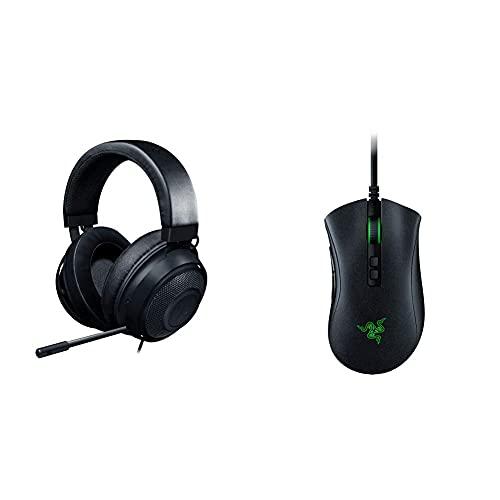 Razer Kraken, Gaming Headset, Le Cuffie Cablate Per Il Gaming Multipiattaforma Per Pc & Deathadder V2 - Usb Mouse Da Gaming Cablato Dall Ergonomia All Avanguardia Per Pc, Sensore Ottico Focus