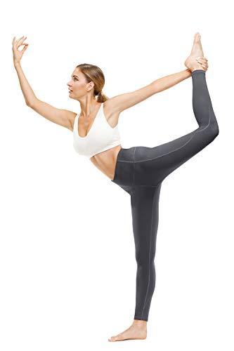 TUNGLUNG High Waist Yoga Pants, Yoga Pants with Pockets Tummy Control Workout Pants 4 Way Stretch Pocket Leggings Grey