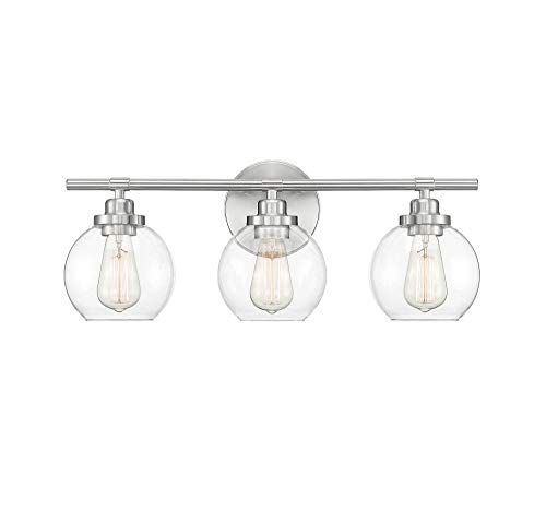 "Savoy House 8-4050-3-SN Carson Satin Nickel 3-Light Bathroom Vanity Light (23"" W x 9""H)"