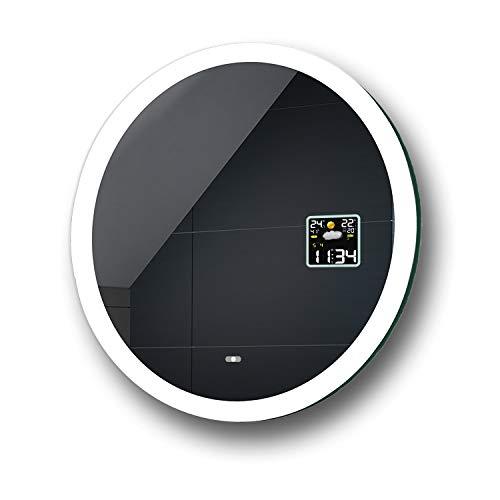 FORAM Anpassen Design Badspiegel mit LED Beleuchtung - Individuell Nach Maß mit Schalter zu Wählen - Beleuchtet Rund Wandspiegel Lichtspiegel Badezimmerspiegel A++ Kaltweiß Warmweiß Modell L76