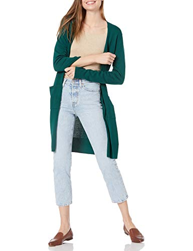 Amazon Essentials Women's Lightweight Long-Sleeve Longer Length Cardigan Sweater, Green Botanical, Large