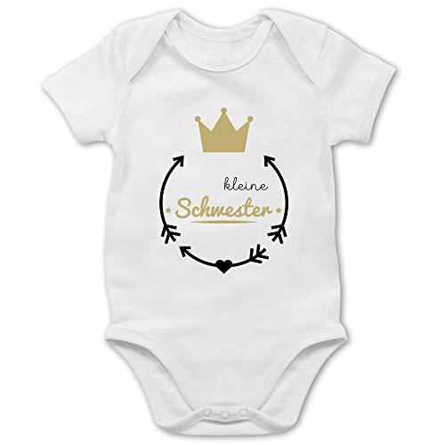 Shirtracer Geschwisterliebe Baby - Kleine Schwester - Krone - 3/6 Monate - Weiß - Papas Prinzessin Strampler - BZ10 - Baby Body Kurzarm für Jungen und Mädchen