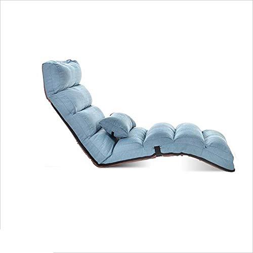 Moderno Piso Artificial Silla Cama Moderna Chaise Longue Ocio Perezoso Sofá Silla (Color : Lake Blue)