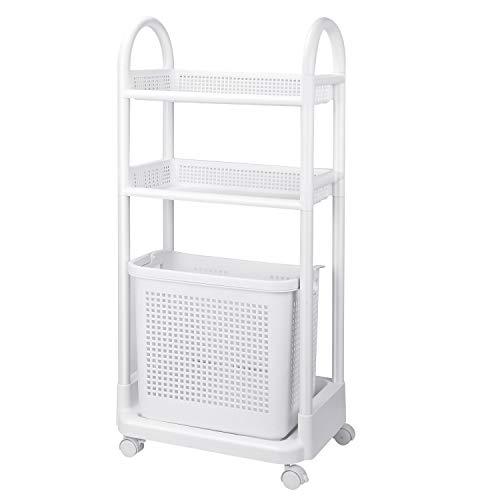 Homfa Badregal mit Wäschekorb 2 Ebenen Wäschewagen auf Rollen Wäschebehälter mit 40L abnehmbaren Wäschesammler für Bad Wäschesortierer ABS Allzweckwagen mit Bremse Weiß