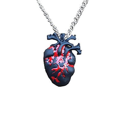 Collar Con Colgante En Forma De Corazón Anatómico Rojo Sangre Negro Collar En Forma De Corazón NegroUn Regalo De Halloween Para AmigosJoyería De Miedo