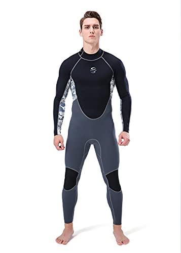 clhjinruoliu Ultra Estiramiento Resistente A La Resistencia De 2 Mm De Neopreno De 2 Mm, Traje De Neopreno A Prueba De Sol, Una Pieza para Hombres Traje De Baño-Snorkeling, Buceo Nadando, Surf,XL