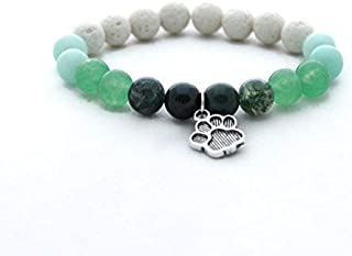 Handmade Pet Lovers Bracelet + Key Chain in Gift Wrap | 8 mm Natural Amazonite, Agate and Created Malaysian Jade Beads Fri...