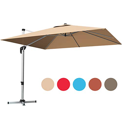 Tangkula 10 Ft Patio Offset Cantilever Umbrella, Outdoor 360 Degree Rotation Hanging Umbrella with Cross Base Crank Lift and Step Pedal, 7 Position Adjustable Garden Umbrella with Aluminum Pole
