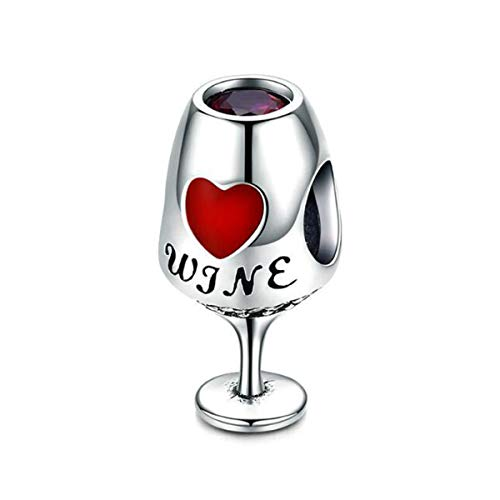 Pot Knife Fork Spoon Charms Beads fit Bracelet DIY Fashion Jewelry Original Sterling Silver Chef's Hat Wine Cup Charms Bead for Pandora Womens Jewelry for Teen Gifts (Red Wine Cup Charm)