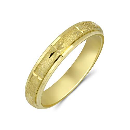 Goldring 585 Gold massiv Gelbgold 14 Karat Damen Bandring breiter Ring ohne Stein Gr 48 bis 62 4mm (53 (16.9))