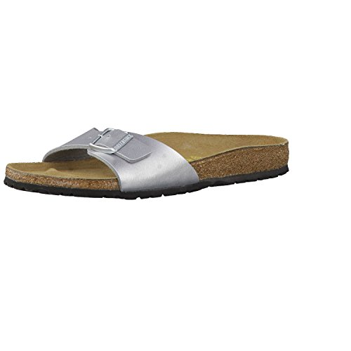 Birkenstock Schuhe Madrid Birko-Flor Schmal Silver (040413) 39 Silber